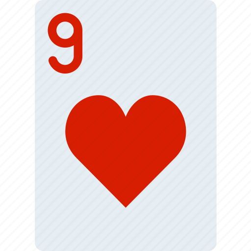 card, casino, gamble, hearts, nine, of, play icon