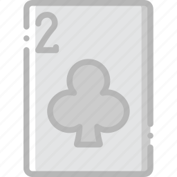 card, casino, clubs, gamble, of, play, two icon