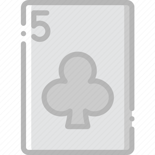card, casino, clubs, five, gamble, of, play icon
