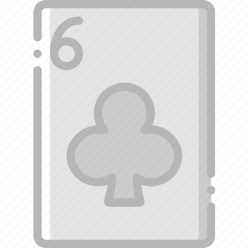 card, casino, clubs, gamble, of, play, six icon