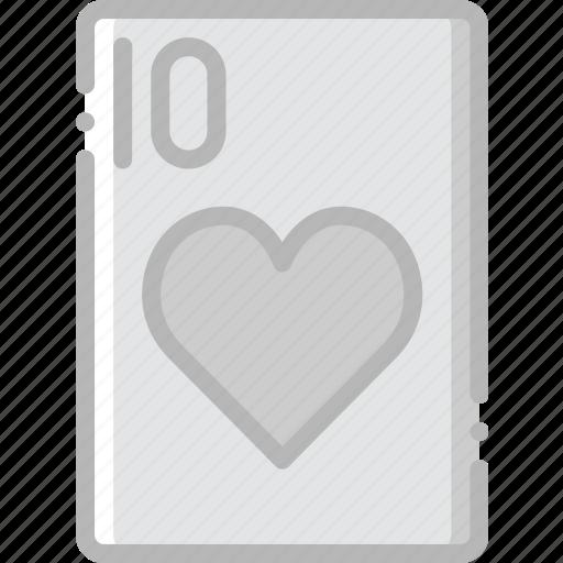 card, casino, gamble, hearts, of, play, ten icon