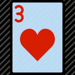 card, casino, gamble, hearts, of, play, three icon