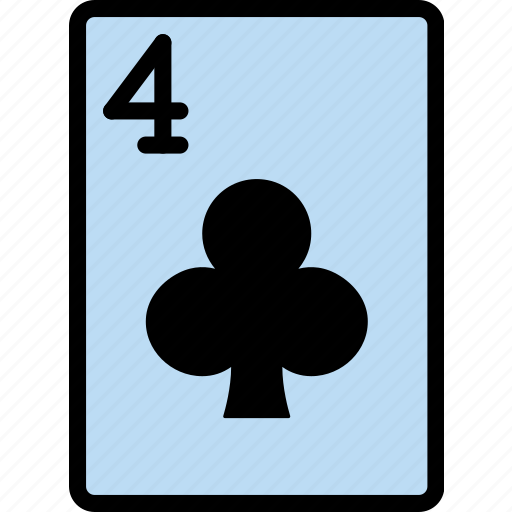 card, casino, clubs, four, gamble, of, play icon