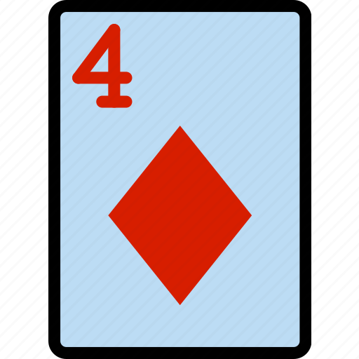 card, casino, diamonds, four, gamble, of, play icon