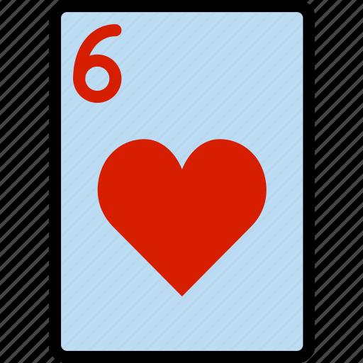 card, casino, gamble, hearts, of, play, six icon