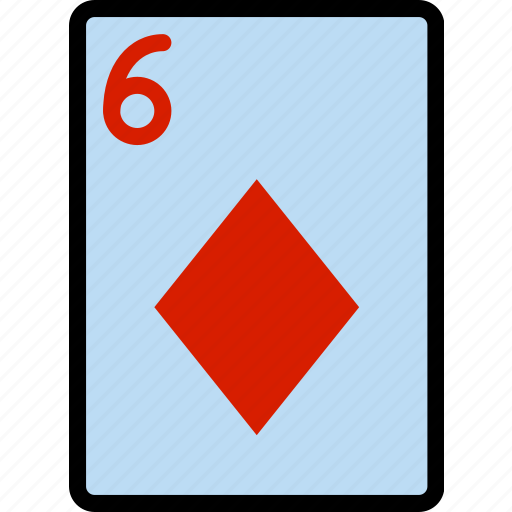 card, casino, diamonds, gamble, of, play, six icon