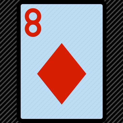 card, casino, diamonds, eight, gamble, of, play icon
