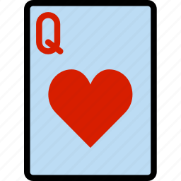 card, casino, gamble, hearts, of, play, queen icon