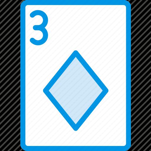 card, casino, diamonds, gamble, of, play, three icon