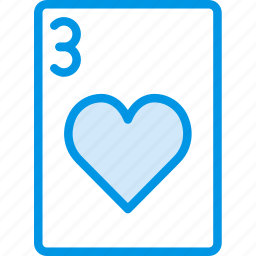 card, casino, gamble, hearts, of, play, three icon