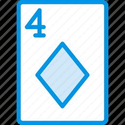 card, casino, diamonds, four, gamble, of, play icon