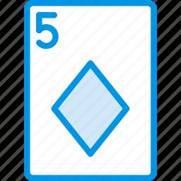 card, casino, diamonds, five, gamble, of, play icon