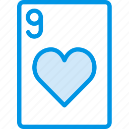 card, casino, gamble, hearts, nine, of, play icon