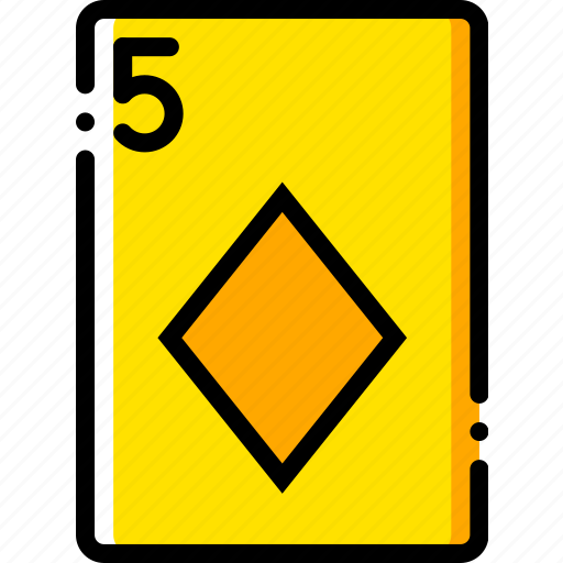 card, casino, diamonds, five, gamble, of, play icon