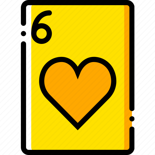card, casino, gamble, hearts, of, play, six icon