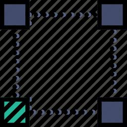 bottom, corner, design, edit, graphic, left, tool icon