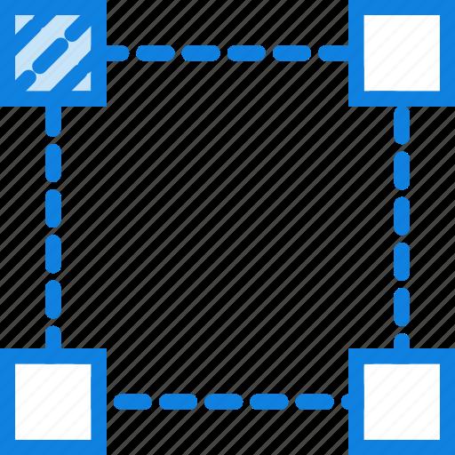 corner, design, edit, graphic, left, tool, top icon