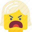 emoticon, angry, emoji, girl, face