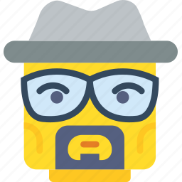 emoji, emoticon, face, heisenberg icon