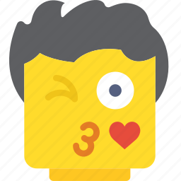 emoji, emoticon, face, flirt icon