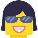 emoji, emoticon, face, girl, smug icon