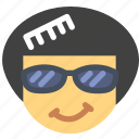 afro, emoji, emoticon, face icon