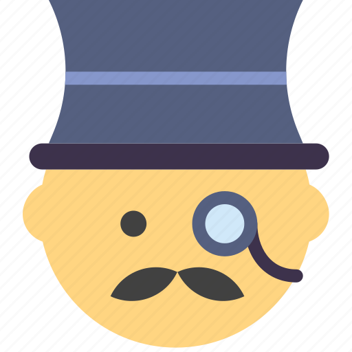 emoji, emoticon, face, gentleman icon