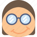 emoji, emoticons, emotion, girl, nerdy icon