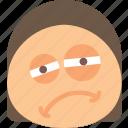 emoji, emoticons, emotion, girl, tired icon