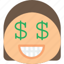 emoji, emoticons, emotion, girl, money icon