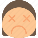 dead, emoji, emoticons, emotion, girl icon