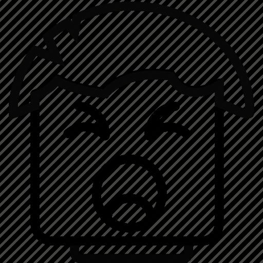 emoji, emoticon, face, yawning icon