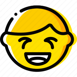 emoji, emoticon, face, laughing icon