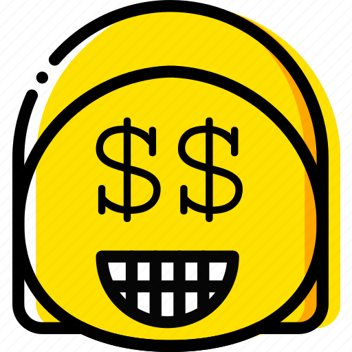 emoji, emoticon, face, money icon