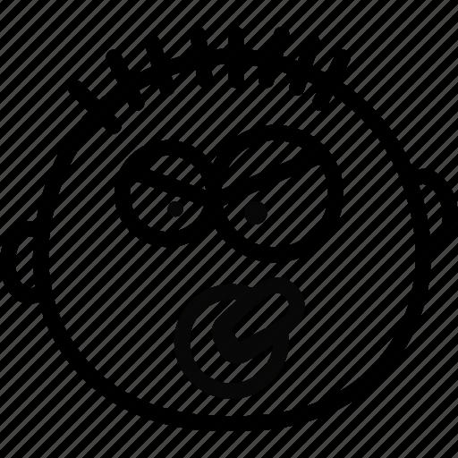 baby, emoji, emoticon, face, mean icon