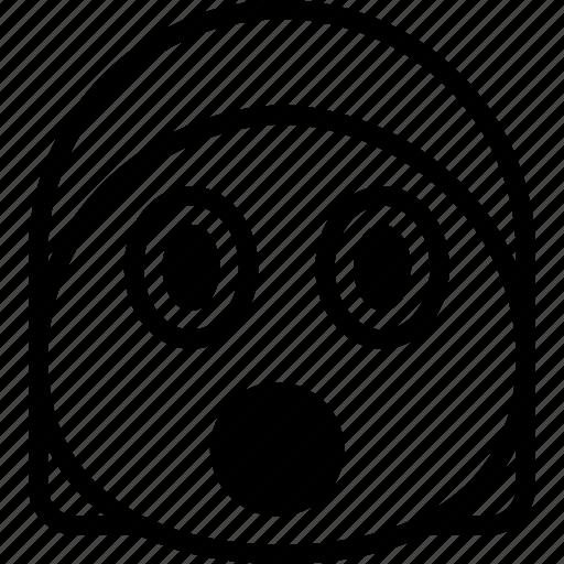 emoji, emoticon, face, surprised icon