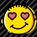 emoji, emoticon, face, in, love