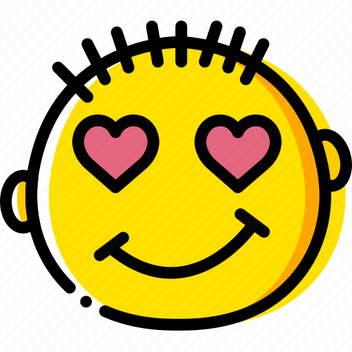 emoji, emoticon, face, in, love icon