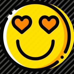 emoji, emoticon, face, in, love icon