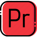 adobe, extentions, file, premiere, pro, types icon