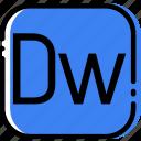 adobe, dreamweaver, extentions, file, types icon