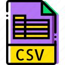 csv, extentions, file, types icon