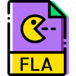 extentions, file, fla, types icon