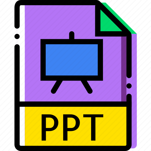 extentions, file, ppt, types icon