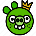 fun, games, king, pig, play icon