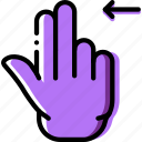 interaction, double, hand, slide, finger, gesture, left icon