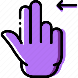 double, finger, gesture, hand, interaction, left, slide icon