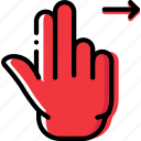 interaction, double, hand, slide, right, finger, gesture icon