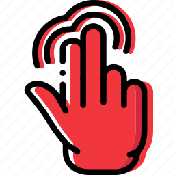 double, finger, gesture, hand, interaction, push icon