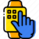 finger, gesture, hand, interaction, press, smartwatch icon